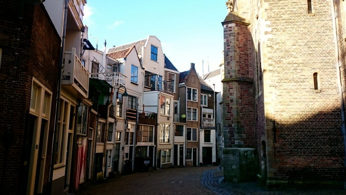 Small houses next to St. Jan church in Gouda, the Netherlands.