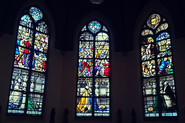 Stained glass windows at St. Jan church